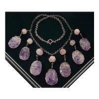 Art Deco Chinese Carved Amethyst Sterling Necklace C.1920