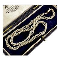 Antique Georgian 10K Natural Seed Pearl Torsade Necklace C.1820
