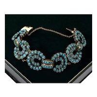 Antique Victorian 9K Rose Gold Sterling Turquoise Link Bracelet C. 1860