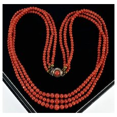 Antique Victorian Italian Mediterranean Tomato Red Coral Necklace C.1880