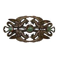Antique Art Nouveau Czech Bronze Griffon 4 Gargoyles Belt Buckle C.1900