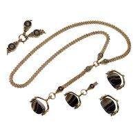 Antique Georgian Victorian 14K 10K Gold Necklace  Enamel Mesh Chain Snake Banded Agate Spinner Pendant
