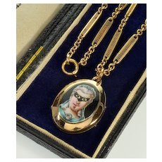 Antique Georgian Enamel Masked Face GF Locket Chain Necklace