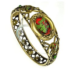 Antique Art Nouveau Art Glass Brass Bracelet SIgned J.H.P C.1900