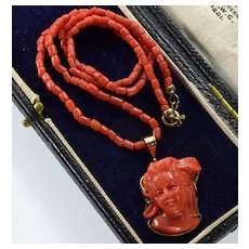 Antique Victorian 14K Red Coral High Relief Cameo Pendant Necklace C, 1890