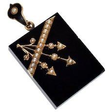Antique Victorian 14K Gold Arrow Pearl Onyx Locket Pendant C.1860
