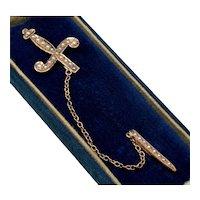 Antique Victorian 10K Gold Pearl Sword Jabot Tie Cravat Pin C.1900