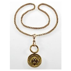 Antique Art Nouveau 14K Gold Lion Head Pendant Necklace Fancy Link Chain Dog Clip Bolt Clasps C.1900