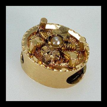 Antique Victorian 14K Gold Pearl Slide Charm For Bracelet 002459