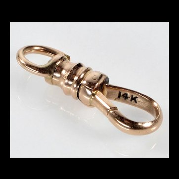 Victorian 14K Rose Gold Dog Clip Clasp For Pocket Watch Albert Chain 0168
