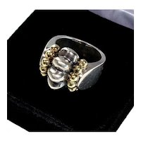 Lagos Caviar Collection 18K Gold Sterling Ring Etruscan Revival Size 5