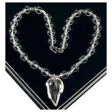 Vintage Rock Crystal Rutilated Quartz Leaf Pendant Necklace