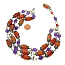 Lilia Lopez Banded Agate Amethyst Sterling Necklace Choker From Neiman Marcus