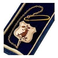 Antique Victorian 10K Gold Enamel Heraldic Coat Of Arms Crest Shield Brooch Pin C.1890