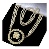 Antique Georgian Seed Pearl 14K Gold Onyx Front Clasp Necklace C.1820