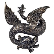 Antique Art Nouveau Sterling Dragon Brooch Pin By Link & Angel C.1900