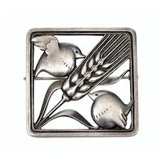 Georg Jensen Sterling Birds & Wheat Brooch Pin C. 1940's