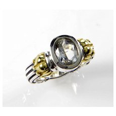 Lagos Caviar 18K Gold 925 Sterling White Topaz RIng Size 6 3/4