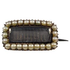 Antique Georgian 15K Gold Pearl Mourning Brooch Pin C. 1820's