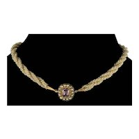 Antique Georgian 14K Gold Seed Pearl Torsade Necklace C.1820 Amethyst Front Clasp