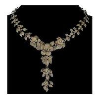 Antique Arts And Crafts Sterling Lavalier Necklace Cannetille Filigree Floral Garland C.1890
