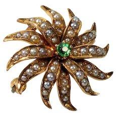 Antique Victorian 14K Gold Emerald Seed Pearls Starburst Pendant Brooch C.1890