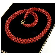 Italian Mediterranean Ox Blood Red Coral Woven Bead Necklace Choker C.1940
