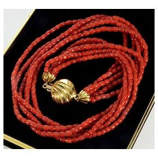 Vintage Italian Undyed Red Coral Necklace 18K Gold Clasp