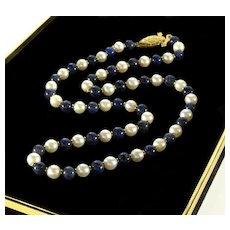 Vintage 18K Gold Lapis Lazuli Pearl Bead Necklace