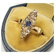 Antique Geоrgian 14K Gold Diamonds Blue Sapphire Ring C.1820 Size 8