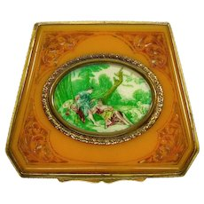 Antique Victorian Hand Painted Carved Celluloid Cosmetic Compact C.1890