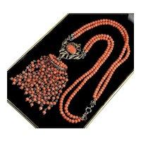 Art Deco Salmon Coral Gold Sterling Tassel Pendant Necklace C.1920