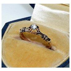 Antique Victorian 14K Rose Gold Solitaire Diamond Ring C.1880