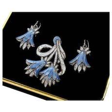 Margot de Taxco Champleve Enamel Sterling Bluebell Earrings Pendant Set C. 1950's