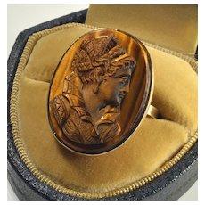 Antique Edwardian 14K God Tiger's Eye Cameo Ring Size 7.5 C.1900
