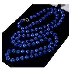 """Antique Art Deco 14K Lapis Lazuli Bead Necklace Flapper C.1920 37"""""""
