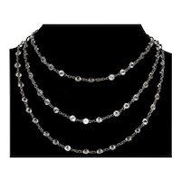 "Victorian Gunmetal Paste Guard Muff Chain Necklace 55"" C.1860s"