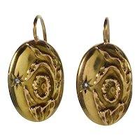 Antique Art Nouveau 10K Gold Diamond Earrings C.1900