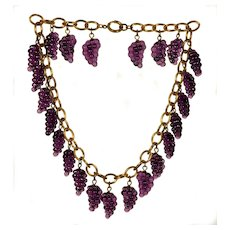 Early Miriam Haskell French Poured Glass Grape Clusters Necklace C.1930