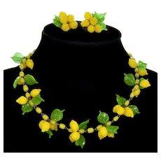 Art Deco 30's Venetian Murano Hand Blown Glass Lemons Necklace Earrings Set