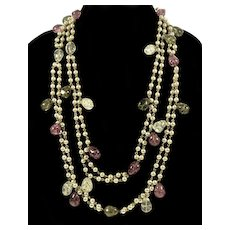 Rare Hattie Carnegie Venetian Crackled Glass Pearl Necklace Flapper C.1950