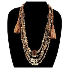 Haute Couture Designer Fresh Water Pearls Tassel Necklace From Saks 5th Ave