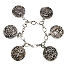 Guglielmo Cini Sterling Ancient Rome Coin US Medal Replicas Chain Bracelet C.1950