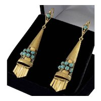 Antique Art Deco Etruscan Revival 14K Gold Turquoise Earrings C.1920