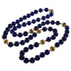 "Antique Art Deco 14K Lapis Lazuli Bead Necklace C.1920 31"""