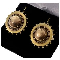 Antique Victorian 15K Gold Target Earrings Locket Backs C.1880
