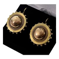 Antique Victorian 15K Gold Target Earrings Locket Backs C.1880