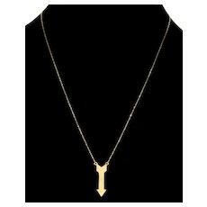 """Vintage 14K Gold Arrow Pendant Necklace 20"""""""