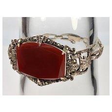 Antique Art Deco Germany Sterling Bracelet Carnelian Marcasite C.1920