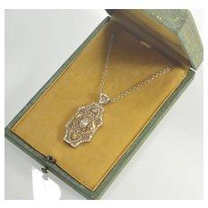Antique Art Deco Diamond Filigree White GF Pendant Necklace In Original Box C.1920